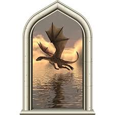 24 Castle Window Medieval Knight View Dragon 2 Wall Decal Kids Room Sticker Home Office Art Decor Den Man Cave Mural Graphic Small Buy Products Online With Ubuy Kuwait In Affordable