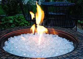 outdoor fireplace white ice crystals