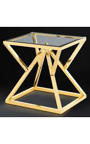 gold finish stainless steel and glass top
