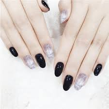 middle long black ink false nails pre