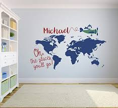 Amazon Com Pinkie Penguin Custom World Map Name Wall Decal Nursery Airplanes Theme Decor Art Removable Oh The Places You Ll Go Sticker Vinyl 62 W X 38 H Home Kitchen