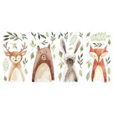 Roommates Watercolor Woodland Critters Peel And Stick Wall Decals Buybuy Baby