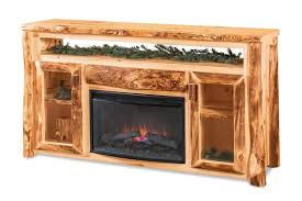 rustic log tv cabinet with electric