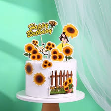 7pcs Set Girl Sunflower Fence Happy Birthday Cake Topper Party Decoration Shopee Philippines