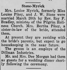 John Wesley Stone and Louise Pikey Marriage Announcement - Newspapers.com