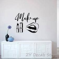 Beauty Salon Wall Stickers Makeup Quote Wall Decals Make Up Wall Art Lips Decal Sticker Lipstick Brushes Girls Room Decor S683 Girls Room Decoration Room Decorationsalon Wall Stickers Aliexpress