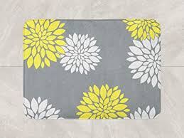 bath mat yellow grey bathroom decor