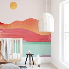Looking Far West Removable Wall Mural Art By Sue Prue Sunset Wave Design In A Colorful And Retro Style Nursery Wall Murals Kids Room Murals Kids Wall Murals