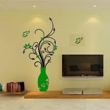 Diy Mirror Wall Home Art Sticker 3d Flower Vase Living Room Decal Mural Decor Walmart Com Walmart Com