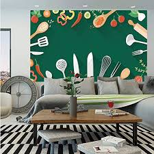 Amazon Com Kitchen Decor Wall Mural Kitchenware Utensils Vegetables Spices Cooking Creative Recipe Home And Cafe Design Print Self Adhesive Large Wallpaper For Home Decor 83x120 Inches Green Red Home Kitchen
