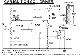 Hv Ignition Coil Driver Using 555 Schematic Circuit Diagram Ignition Coil Electronic Schematics