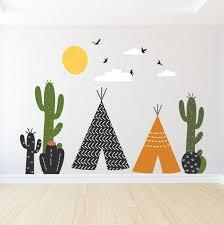 Tepee Wall Decals Cactus Wall Decal Cactus Tepee Nursery Etsy