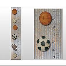 Growth Chart Basketball Baseball Football Soccer Ball Sports Wall Decals Vinyl Sticker Height Measurement Children Nursery Baby Room Decor Boy Bedroom Decorations Child Measure Growing Babies Keepsake Wish