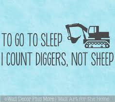 Construction Boys Room Wall Decal Art Sticker Count Diggers To Sleep