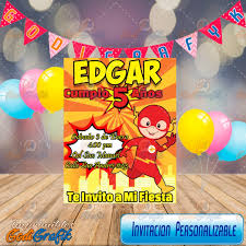 Invitacion Para Fiestas Infantiles Flash 80 00 En Mercado Libre