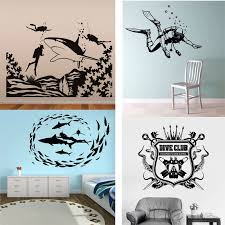 28 Designs Scuba Diving Logo Wall Sticker Divers Skull Vinyl Decal Home Room Art Extreme Sports Decor Mural Designer Wall Stickers Wall Stickervinyl Decal Aliexpress