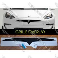 Tesla Model 3 Model Y Front Bumper Grille Decal Overlay