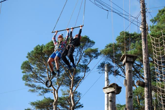 high ropes course activity in Galway