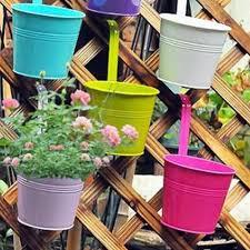 10 Pcs Garden Metal Flower Pots Wall Hanging Bucket Herb Planter For Balcony Flower Pot Hanging Flower Metal Iron Planter Flower Pots Planters Aliexpress