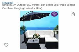 3m outdoor led parasol solar sun shade