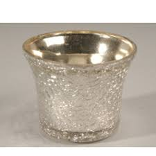 silver le glass tealight holder