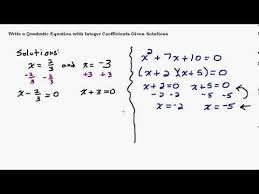 find a quadratic equation when given