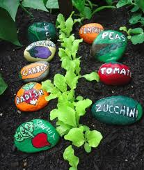 painted stone garden markers for the