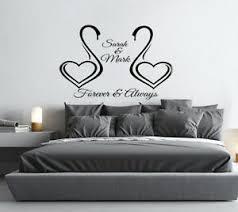 Personalised Love Hearts Swan Wall Sticker Romantic Bedroom Wall Art Decal Ebay