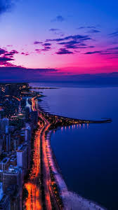 chicago sunset 720x1280 wallpaper