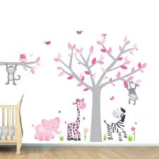 Girl Jungle Wall Decal Nursery Wall Decals Monkey Pink Gray Zebra Stickers Custom Choices 84 99 Baby Girl Wall Decor Art Wall Kids Jungle Wall Decals