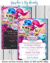 Shimmer And Shine Birthday Invitation Fiesta Cumpleanos
