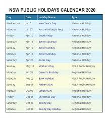 Public Holidays calendar 2020