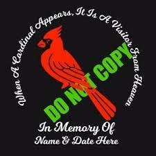 In Loving Memory Of Custom Car Vinyl Decal When A Cardinal Appears Sign Cute Ebay