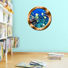 Vwaq Coral Reef Fish View Bronze Porthole Peel And Stick Vinyl Wall De