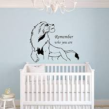 Amazon Com Wall Decal Sticker Lion King Simba Wall Decal Remember Who You Are Quote Vinyl Wall Sticker Kids Bedroom Wall Murals Baby Room Decoration Home Kitchen