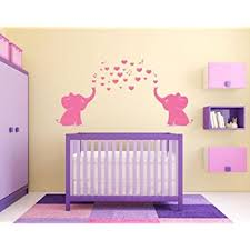 Amazon Com Ares Cute Pink Elephant Wall Decals Family Wall Stickers For Kid Room Baby Nursery Decor Home Kitchen