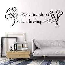 Beauty Salon Wall Stickers Vinyl Girls Hair Salon Wall Decal Quotes Beauty Salon Shop Decor Stickers Removable Mural Diy Syy746 Life Is Salon Wall Stickerswall Decals Quotes Aliexpress