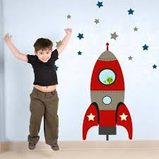 Red Blast Off Rocket Wall Sticker Space Wall Sticker Rocket Etsy