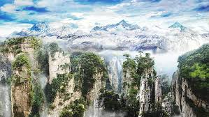 Royalty-Free photo: Aerial view photography of Zhangjiajie, China ...