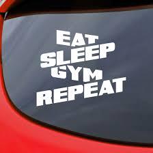 Est Sleep Gym Car Sticker Vinyl Decal Van Window Bumper Fitness Bodybuilding Fit Ebay