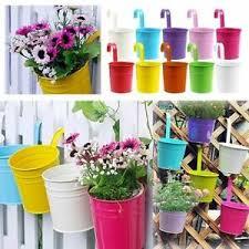 Metal Hanging Pots Plant Flower Planter Bucket Balcony For Garden Fence Hook Uk Ebay