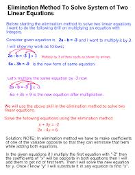 elimination method to solve system of