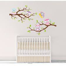 Owl Nursery Wall Decals Tree Branch Decal Nursery Wall Decor Wall Stickers Fabric Wall Decals Kids Wall Decor Childs Decor