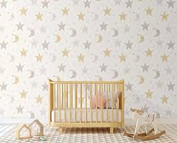 Amazon Com Night Sky Nursery Wallpaper With Stars And Moon Self Adhesive Removable Wall Paper Vinyl For Kids Room Cc145 Handmade