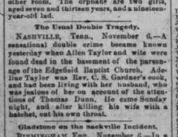 Allen Taylor kills wife Adeline Taylor with hatchet 6 Nov 1888 ...