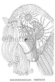 Hand Drawn Horse Sketch For Anti Stress Adult Coloring Book In