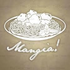 Kitchen Wall Decal Mangia Vinyl Sticker Tuscan Italian Pantry Home Restaurant Decor Food Pasta Dish Spaghetti