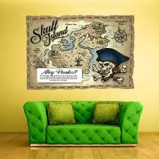 Amazon Com Stickersforlife Full Color Wall Decals Vinyl Sticker Decor Art Bedroom Design Kids Nursery Art Poster Pirates Ship Old Antique Map Col545 Home Kitchen