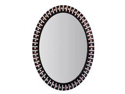 oval wall mirror black white red
