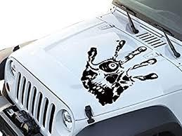 Amazon Com Fgd Hand Print Skull Face Hood Decal Sticker Graphic 23 5 X24 Hps2422 Universal Fits Car Truck Suv Black Kitchen Dining